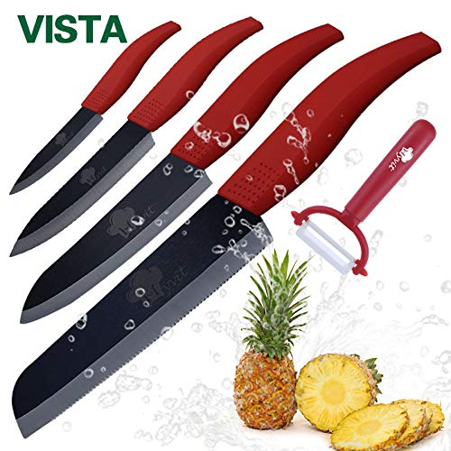 Best Quality Kitchen Knives Kitchen knife Ceramic Knives Cooking set 4 inch paring 5 inch slicing 6 inch chef 6 inch Serrated Bread Knife Peeler Black Blade knife