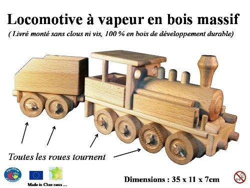 Locomotive à vapeur et wagon en bois naturel