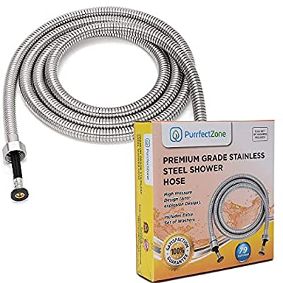 Shower Hose Extra Long | Shower Head Hose | Handheld Showerhead Hose| Long Shower Hose Extension | Shower Pipe for Bathroom, Toilet, Hand Held Shower Hose Extension (79 inches, Brushed Nickel)