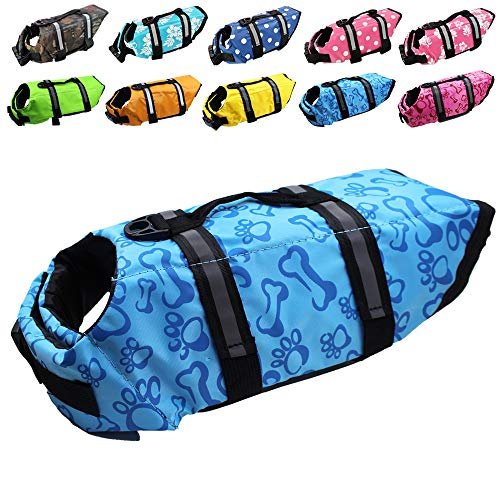 Dog Life Jacket Easy-Fit Adjustable Belt Pet Saver Swimming Safety Swimsuit Preserver with Reflective Stripes for Doggie (XS, Blue)