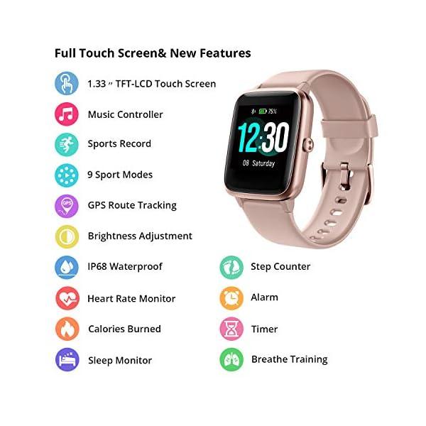 Reloj Inteligente Mujer Hombre, Smartwatch con Pulsómetro, Pulsera Actividad Inteligente con Cronómetros Podómetro… 2