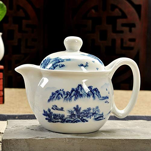 Tetera de cerámica, té, paisaje, azul y blanco, porcelana china, oficina, tetera, hogar, E15.5 * 11.5cm