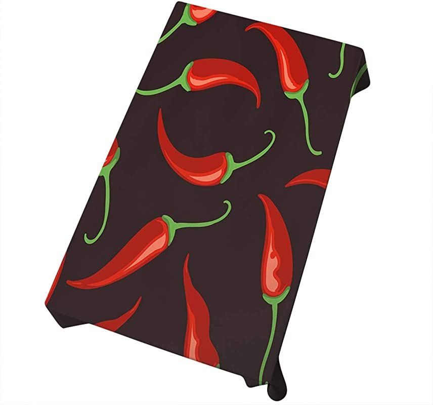 Mugod Red Chilli Pepper Tablecloth Tabasco Chilli Spices Pepper Black Seamless Pattern Decorative Dining Room Kitchen Rectangular Table Cover 52 X 70 Inches
