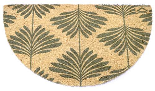 Felpudo de coco natural Joker media luna 40 x 75 cm fondo goma PVC diseño hojas grises para entrada resistente lavable antideslizante de calidad