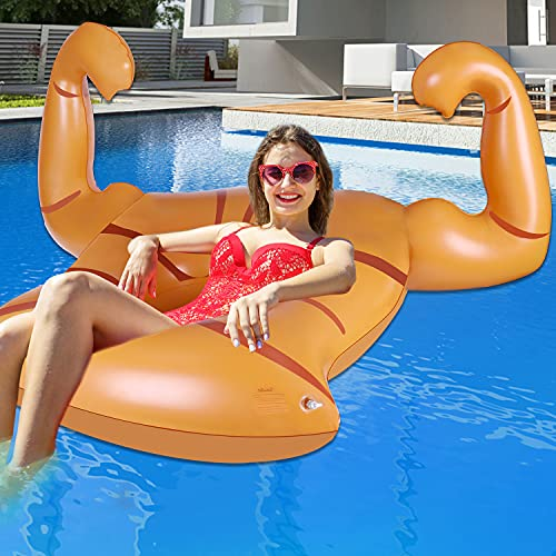 Funny Pool Floats Adult Size Inflatable Muscle Pool Rafts Lake Floats Swimming Pool Accessories for Adults and Kids Ages 8-10-12 and Up Pool Lounger Beach Floaties Toys Outdoor Pool Games for Family