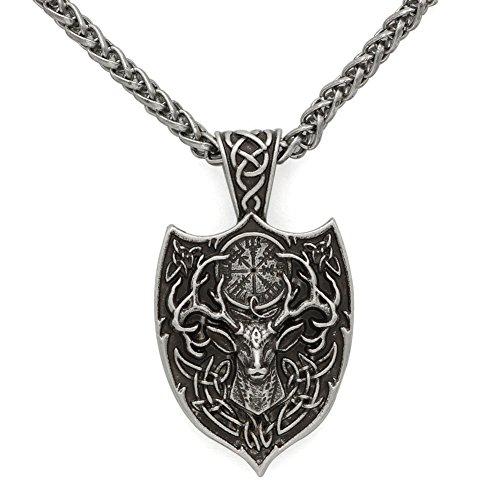 GuoShuang Men Double Side Viking Deer Sekira Legendary Aegishjalmur Amulet Nordic Talisman pegan Pendant Necklace