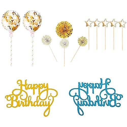 EasyULT 10 Pezzi Cake Topper Kit Decorazione Torta di Compleanno, Compleanno Banner Decorazione, Coriandoli PalloncinoCake Topper per Ragazza Ragazzo, Stelle Ventilatori di Carta Festa Decorazione