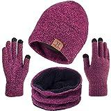 TMEOG Bufanda Gorro Guantes para Hombre Invierno Regalos para Hombre Mujer Unisexo Set de Bufanda Conjunto de Guantes de Punto BufaSombrero de Invierno Gorras Con Bufanda (Rosa)