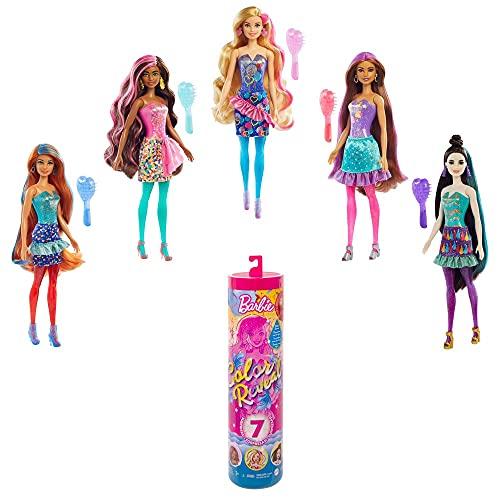 Barbie Color Reveal Fiesta,  muñeca sorpresa de cumpleaños con accesorios de moda de juguete Mattel GTR96
