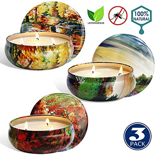 UG1 Citronella Candle,Scented Candles Gift Set of 3 X 14.5 Oz Natural Soy Wax Candles Lemongrass