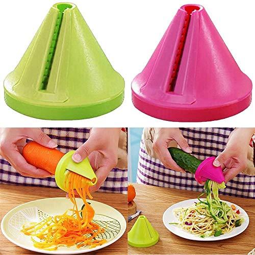 RX Spiralgemüseschneider (2 Satz), Hand Spiralizer Veggie Slicer, Zucchini Spirale Nudel/Zoodle/Spaghetti/Nudelmaschine