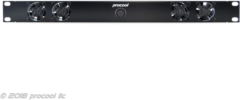 PROCOOL SX2240E / 1U Silent Rack Mount Fan/Airflow = EXHAUST/Home Theater AV Cabinet Cooling Broadcast Network Server Recording Studio Rack Mount Fan Panel 19