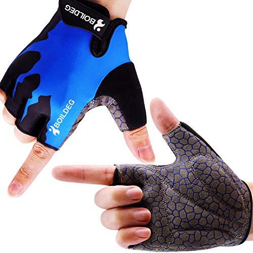 boildeg Guantes de Ciclismo de Bicicleta Guantes de Bicicleta de Carretera de Medio-Dedo para Hombres Mujeres Acolchado Antideslizante Transpirable (Azul, M)