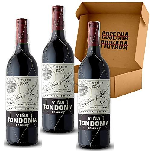Viña Tondonia Tinto - Envío Gratis 24 H - 3 Botellas - Rioja - Estuche Pack Regalo Vino - Seleccionado y enviado en caja reforzada por Cosecha Privada