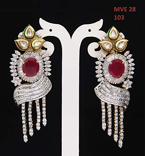 SURYAGEMS Handmade Chandelier Earrings Cubic Zircon Stones Gold Plated Baali Kundal Jewellery For Women Girls Ladies Fashion Jewellery