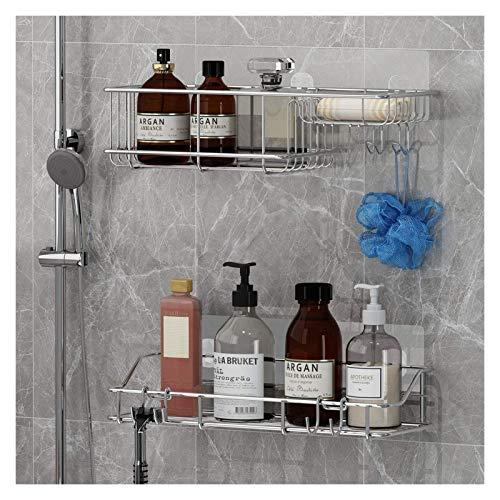 Estante de baño Ducha Caddy Soap plato con ganchos 3 en 1 plataforma de baño para colgar la esponja y la afeitar, 2 pack Shampoo Holder Organizer, sin taladro de pared Montado en la pared, a prueba de