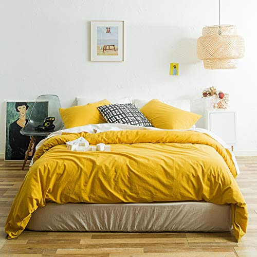 SUSYBAO 3 Piece Duvet Cover Set King Size 100% Natural Washed Cotton Yellow Bedding Set 1 Solid Duvet Cover with Hidden Zipper Ties 2 Pillowcases Hotel Quality Soft Breathable Comfortable Durable