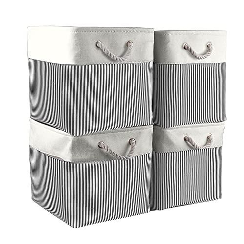 Mangata Cajas de Almacenaje, Cestas Almacenaje de Tela para Ropa, Armarios, Estantes, Juguetes, 33x33x33 cm (Plegable, 4X, Rayas Grises)