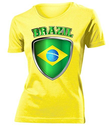 Brasilien Brazil Brasil Fan t Shirt Artikel 4723 Fuss Ball WM 2022 Team Trikot Look Weltmeister Flagge Fahne Frauen Damen Mädchen Girly Gaucho XXL