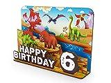 KochDialog Decoración de mesa infantil de dinosaurio para cumpleaños de 1 a 9 años, reciclable, estable, 3 mm de grosor, efecto 3D (Dinos)