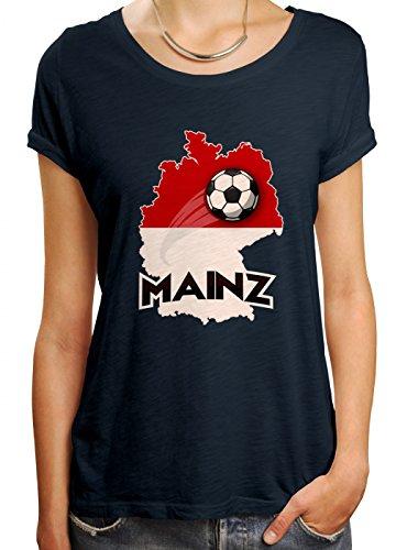 Mainz #2 Premium T-Shirt | Fussball | Fan-Trikot | Die Macht in Deutschland | Frauen | Shirt, Farbe:Dunkelblau (Navy L191);Größe:L