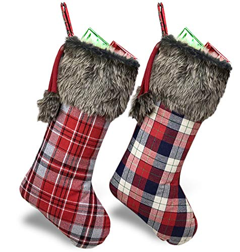 WUJOMZ Plaid Christmas Stockings 2 Pack, 18 inches Rustic Christmas Stockings Bulk, Large Xmas Stockings with Plush Faux Fur Cuff Stockings for Family Holiday Christmas Party Decorations