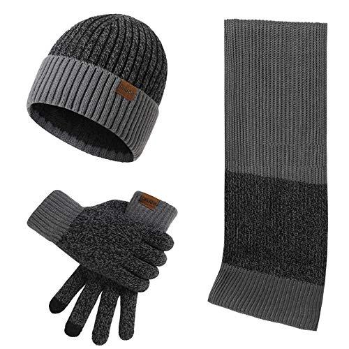 Conjunto de 3 peças de gorro de malha + cachecol longo + luvas para tela sensível ao toque, Cinza escuro, M