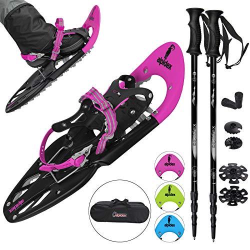ALPIDEX Schneeschuhe 25 INCH Schuhgröße 38-45 bis 130 kg Steighilfe Tragetasche Optional Stöcke, Farbe:Pink mit Stöcken