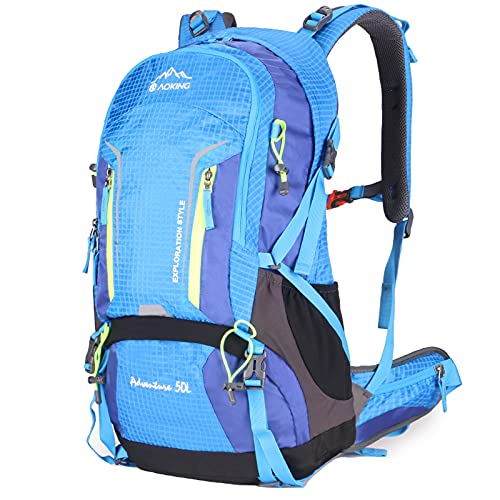 AOKING 50L Hiking Backpack, Waterproof Travel Backpack Lightweight Hiking Daypacks, Outdoor Camping Backpack for Women Men, with Rain Cover Blue