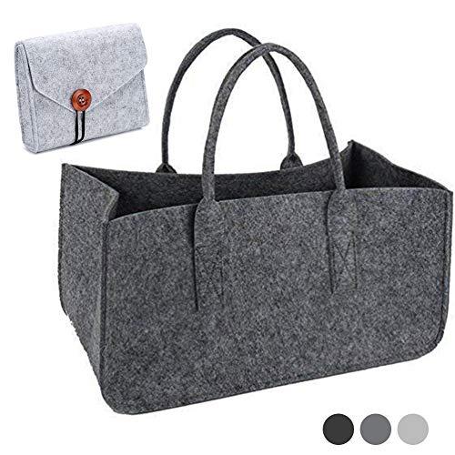 Felt Grocery Shopping Bag Tote Bag, Felt Casual Daily Handbag, Firewood Basket, Grey