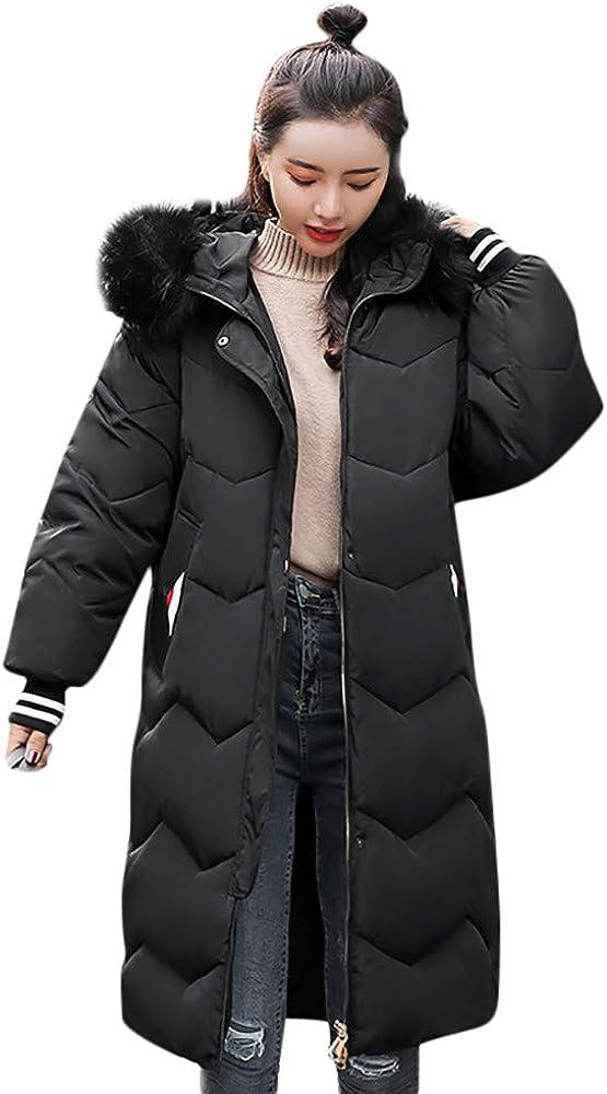 TOPUNDER Outerwear Button Coat Long Cotton-Padded Jackets Pocket Fur Hooded Coats Women
