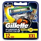 Gillette Fusion 5 ProGlide Power Lot de 12 lames de rasoir avec tondeuse pour précision et revêtement lisse