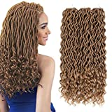 Deep Wavy Wave Goddess Fauxs Locs Crochet Hair with Curly Ends 3 Packs 20inch Pre Looped Twist Gypsy Locs Crochet Hair Braids Dreadlocks Synthetic Braiding Hair Extension (#27, honey blonde)