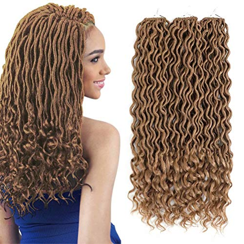 Deep Wavy Wave Goddess Fauxs Locs Crochet Hair Pre Looped with Curly Ends 3 Packs 18 inch Twist Gypsy Locs Crochet Hair Braids Dreadlocks Synthetic Braiding Hair Extension (#27, honey blonde)