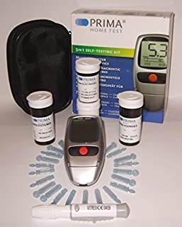 Prima Home Test 3 in 1 Cholesterol,Triglycerides,Glucose Complete Self Testing Kit by Prima