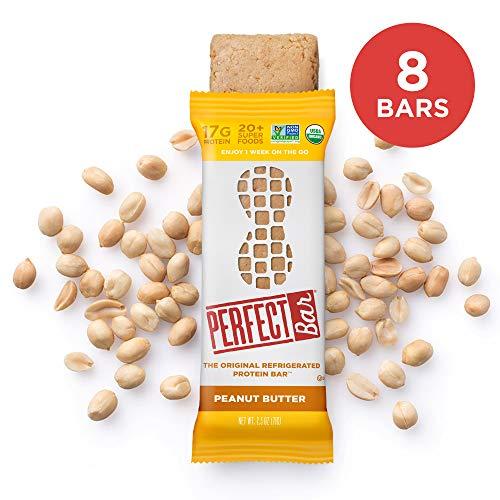 Perfect Bar Original Refrigerated Protein Bar, Peanut Butter, 17g Whole Food Protein, Gluten Free, Organic & Non-GMO, 2.5 Oz. Bars (8 Bars)