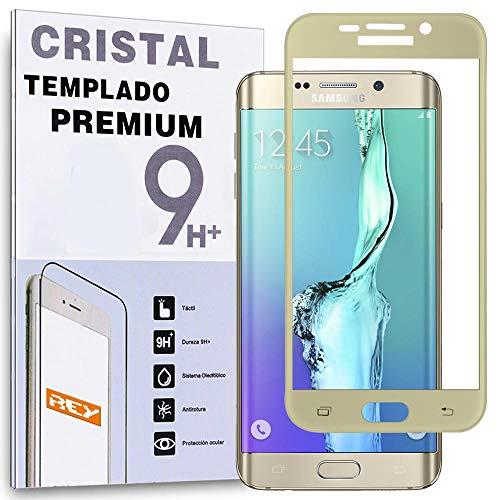 REY Protector de Pantalla para Samsung Galaxy S6 Edge Plus Oro CurvoCristal Vidrio Templado Premium