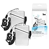 CEYDEY 2 Pack Sport Waterproof ID Card Badge Holder Case with Lanyard Cover Multiple Credit Cards, Registration, ins Card Heavy Duty Durable Locker Dry Box (Clear)