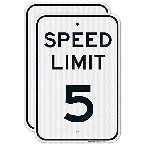 (2 Pack) Speed Limit 5 MPH Sign, Large 12x18 3M Reflective (EGP) Rust Free .63 Aluminum, Weather/Fade Resistant, Easy Mounting, Indoor/Outdoor Use, Made in USA by Sigo Signs
