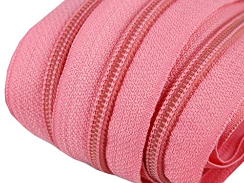 Schnoschi 2 m endlos Reißverschluss 5 mm Laufschiene + 5 Zipper Meterware teilbar Farbwahl (rosa)