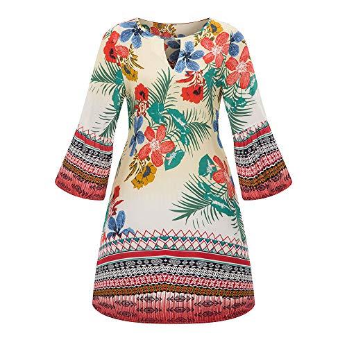 iHENGH Damen Frühling Sommer Rock Bequem Lässig Mode Kleider Frauen Röcke Große Größe Frauen Casual Langarm Minikleid Abend Partykleid(Weiß, L)