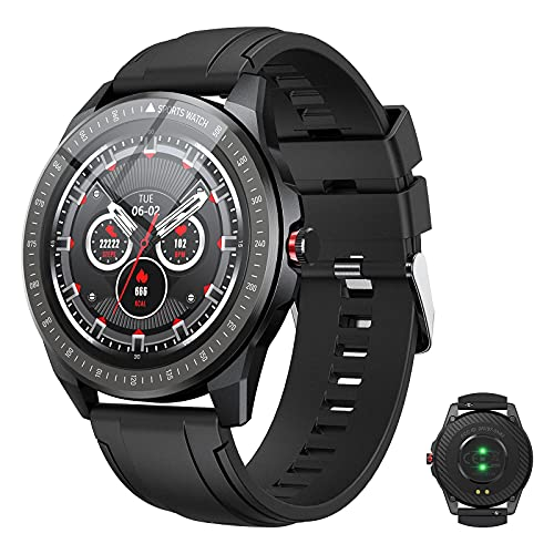 Vigorun Smartwatch, Pantalla Táctil 1.3' Reloj Inteligente Hombres Mujeres, Impermeable IP68 Fitness 10 Modos Deportivos, Oxígeno Sangre Pulso Monitor de Sueño Podómetro para Android Samsung, Negro