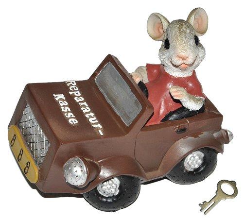 alles-meine.de GmbH Spardose Maus mit Auto  Reparatur-Kasse  - mit Schlüssel - stabile Sparbüchse aus Kunstharz - Autokauf Mäuse Geld Sparschwein Autos Reparatur Retro
