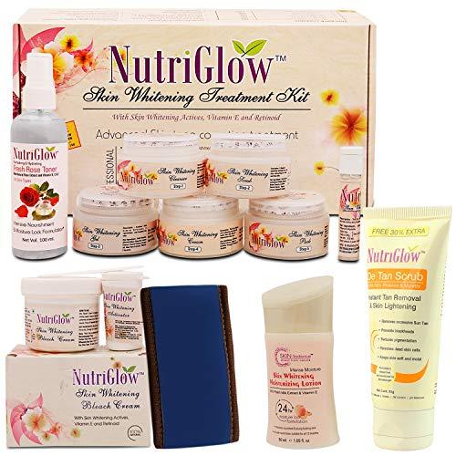 NUTRIGLOW Skin Whitening Treatment Kit With Bleach Cream (43 gm) Fresh Rose Toner(100 ml) Moisturizing Lotion (50 ml) De Tan Scrub (65 ml) And Head Band