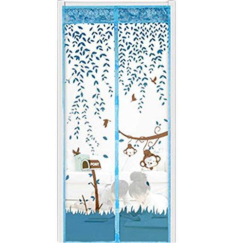 Dragonaur Magnetischer Türvorhang aus weichem Netzstoff, verhindert Insekten, voller Rahmen, Hände frei, lassen Sie frische Luft in Blau, 100 cm x 210 cm
