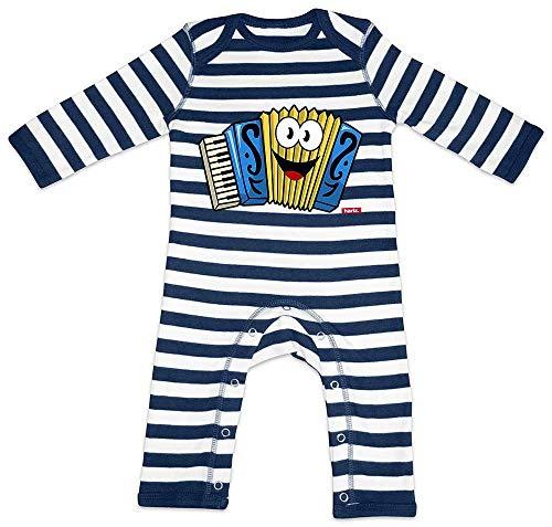 Hariz - Pelele para beb, diseo de rayas, acorden, instrumento para nios, divertido, tarjeta de regalo, azul marino, blanco lavado, 3  6 meses