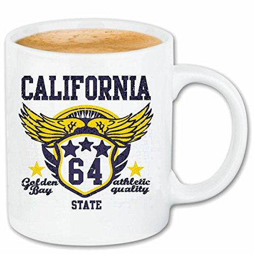 Reifen-Markt Kaffeetasse California 1 GOLDEN ATHLETIK Bay Quality Mannschaft Sportart Leichtathletik Amerika USA VEREINIGTE Staaten Keramik 330 ml in Weiß