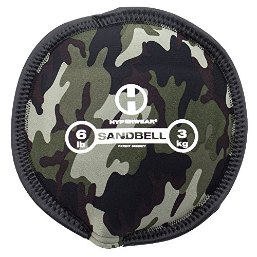 Hyperwear SandBell Sandbag Training Free Weight (Pre-Filled), Camo, 6 lb