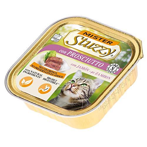 Stuzzy Mister, Comida húmeda para Gatos Adultos, Sabor jamón, línea paté y Carne en trozos - Total 3,2 kg (32 tarrinas x 100 gr)