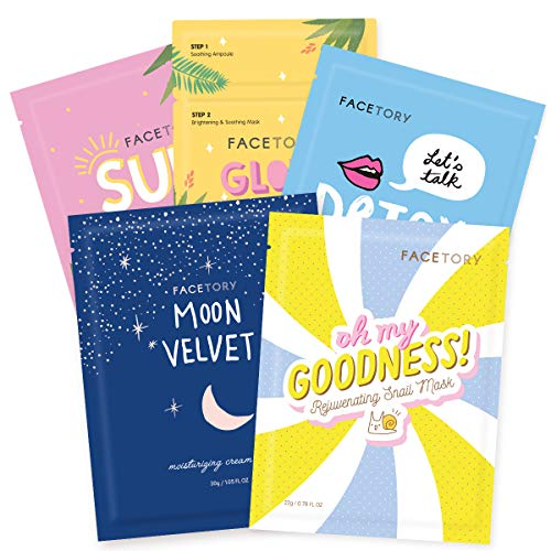 FaceTory Collection Facial Mask Set - 5 Count | For All Skin Types | Hydrating, Purifying, Soothing, Moisturizing, Revitalizing